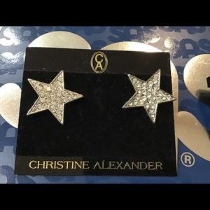 "1"" rhinestone star pierced earrings new"